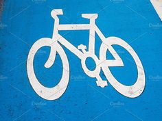 Bike lane sign Photos Sign of a bike or bicycle lane by UK Photos - Europa Fotos Uk Photos, Business Illustration, Abstract Photos, Watercolor Cards, Business Card Logo, Painting & Drawing, Creative, Stencils, Symbols
