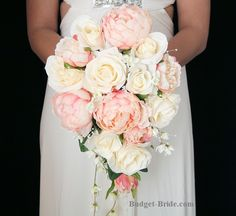 Cascading teardrop bouquet with pink peonies and ivory roses