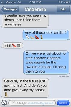 10 Texts From Disney Princesses To Their Princes <<< Haha, this one is pretty good actually xx ♥♥♥ Disney Girls, Disney Love, Disney Magic, Disney Stuff, Disney Princess Texts, Disney Princesses, Funny Princess, Disney And Dreamworks, Disney Pixar