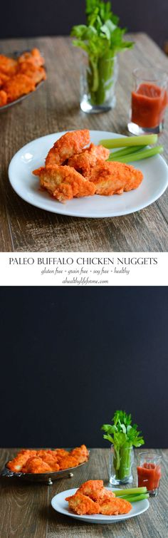 Paleo Buffalo Chicken Nuggets  are the perfect finger food that satisfys your tastebuds, while keeping it clean.  These paleo buffalo chicken nuggets are gluten free, grain free, dairy free, sugar free, soy free, and nut free, though no one who eats them will think they are eating a super clean version of their favorite football food.- A Healthy Life For Me