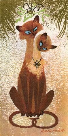 Christmas kitties by my favorite card artist, Ralph Hulett.