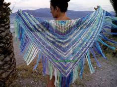 Crochet cotton shawl Multicolored shawl Triangular shawl Summer Summer Triangle, Lace Wrap, Crochet Shawl, Fringes, Shawls And Wraps, Wedding White, Boho, Shopping Mall, Knitting