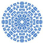 Round flower style blue pattern on white background