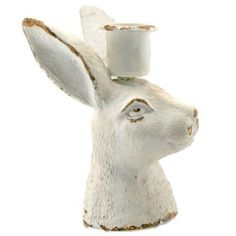 """RABBIT BUST CANDLE HOLDER ANTIQUE WHITE 2.5x3x4.25""""H"""