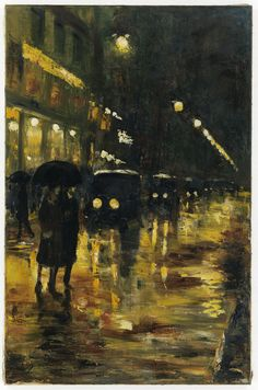Lesser Ury, Café König bei Nacht (Unter den Linden), 1925/30