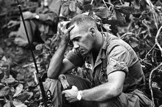 The strain of battle for Dong Xoai is shown on the face of U.S. Army Sgt. Philip Fink, an advisor to the 52nd Vietnamese Ranger battalion, shown June 12, 1965.