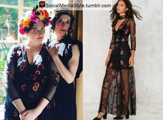 Buy Lena Dunham's Floral Embroidered Black Mesh Dress, here!
