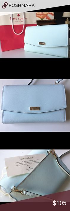 Kate Spade Purse Crossbody/Wallet Winni Teal Blue Gorgeous pristine NWT Kate Spade NY bag in the perfect shade of Caribbean light blue.  Organizes all the essentials (fits an iPhone 6+ with case)   Removable leather strap w/approx. 24 inch drop, so you can use this as a cross-body/shoulder bag or clutch.  FEATURES: Front flap with snap closure Full length slip pocket in the back  INTERIOR: 1 slip pocket, tab with snap closure compartment, 1 zip compartment, and 7 card slots  Approx…