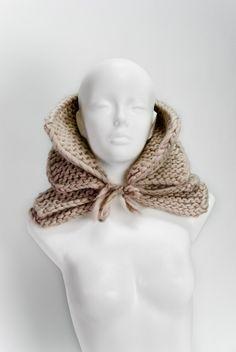 Doble cuello abultado tejió a mano en alpaca gruesa lana merino accesorio de moda de invierno regalo de navidad.