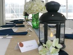 Guest Tables - White/Burlap, with Navy Blue accents - we'll have the blue-tint-glass mason jars with wildflowers for centerpieces