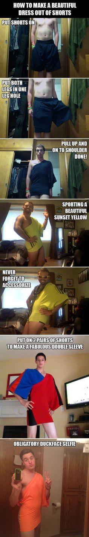 How to make dress out if shorts...hahahaha
