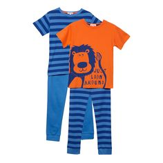 bluezoo Boy's blue three piece lion pyjama set- at Debenhams.com
