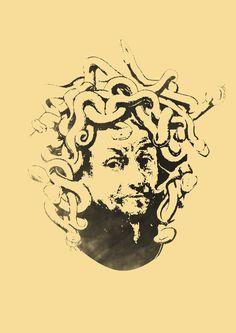 Rembrandt van Rijn with medusa head.   Stencil
