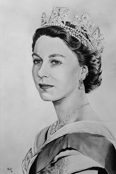 "Original oil painting ""Queen Elizabeth II"" Dry brush on paper by Rudy Vandecappelle of RmV Portraits Art http://rmvportraitsart.myfreesites.net/"