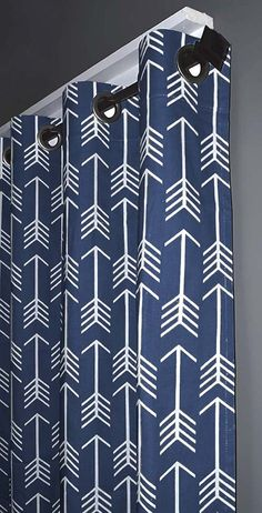 Navy Arrow Curtains FREE SHIPPING Two by DesignerPillowShop