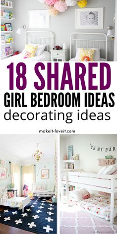 18 Shared Girl Bedroom Ideas For Decorating A space so both of the children have their own space. You will find incredible bedroom decor ideas for girls who need to share one room . Toddler Bedroom Sets, Toddler And Baby Room, Girls Bedroom Sets, Shared Bedrooms, Girl Bedroom Designs, Small Room Bedroom, Small Rooms, Toddler Girl, Small Spaces
