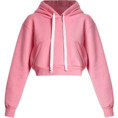 Natasha Zinko Cropped hooded cotton-blend sweatshirt