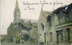 Valenciennes. Eglise de Faubourg de Paris, apres la guerre 1914-18. Valenciennes. Church of Faubourg de Paris, after the 1914-18 war.