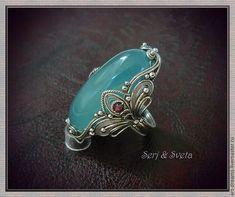 """Купить Кольцо  """"Там за морем..."""" - голубой, аквамарин натуральный, кабошон, кольцо с аквамарином"""