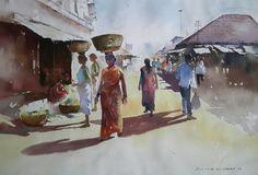 Watercolour  on paper - market