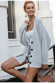 3c1369d57586 Simplee V neck button vintage women cardigan Long sleeve fashion casual women  sweater 2018 Autumn winter gray outwear jumper