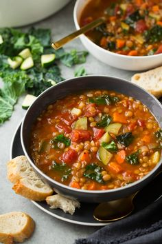 6 Delicious Fall Soup Recipes That Taste Insanely Good. The Best Fall Soup recipes to cozy up to this fall. Healthy fall soup recipes that will warm you up Fall Soup Recipes, Lentil Soup Recipes, Healthy Soup Recipes, Vegetarian Recipes, Cooking Recipes, Vegetarian Soup, Kale Lentil Soup, Italian Lentil Soup Recipe, Brown Lentil Soup