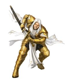 Male Aasimar Paladin in Gold Armor - Pathfinder PFRPG DND D&D 3.5 5th ed d20 fantasy