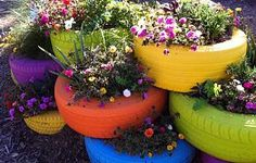 outdoor   Painted old tires...  CUTE and bright.
