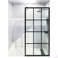 BUY NOW | Coastal Shower Doors - Gridscape Series Fixed Panel Factory Windowpane Shower Screen - 32x75 in. - Black - Clear Tempered Glass