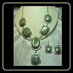 Charles Johnson Sterling Silver Necklace and Earrings with Turquoise Mountain Turquoise
