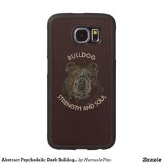 Abstract Psychedelic Dark Bulldog Drawing Wood Phone Case