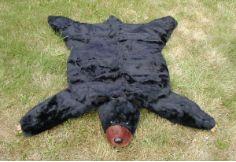 ... Black Bear Skin Rug   Faux Fur Plush Black Bear Rug ...