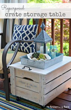 Repurposed crate storage side table. Other than the crate, you'll need: (4) caster wheels (2) hinges A handle for the lid 1/2 inch plywood for the top that overlaps the crate by 1/4 inch on all sides Medium grit sandpaper A paint brush Watered down white latex paint Dry Rag and a tack cloth Outdoor polyurethane to protect your piece if you plan to use it outside