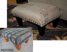 Ottoman Makeover using Burlap Coffee Sacks and Nailheads by @Jenna_Burger, www.sasinteriors.net