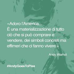 Reinterpretate la citazione di #Warhol a modo vostro: cosa vi fa vivere? Scrivetelo, fotografatelo, dipingetelo! E poi, ovviamente, taggatelo #AndyGoesToPisa #AndyWarhol #quotes #popart #Pisa