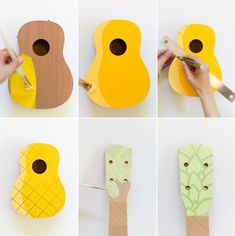 How to make a painted pineapple ukulele. Make this fun, family-friendly instrument and have yourself a sing-a-long this weekend! Nobody can resist this cute little ukulele. Cardboard Guitar, Diy Cardboard, Guitar Painting, Diy Painting, Ukelele Painted, Pineapple Ukulele, Ukulele Art, Ukulele Songs, Guitar Chords