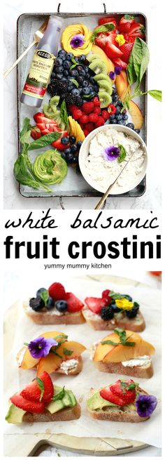 How to create a beautiful and delicious DIY fruit crostini bar with vegan cheese and white balsamic reduction. Avocado, strawberry toast is my personal favorite. #ad ##ALESSIFOODS