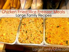 "Chicken Fried Rice Freezer Meal Oh boy, you're going to have to try my mad scientist plan for having several pans of Chicken Fried Rice (or ""any meat"" Fried Rice) in the freezer and ready-to-go for large family dinners! Over the last few months, this has become a requirement in my freezer stash. The way …"
