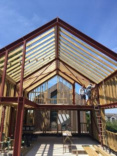 Steel Frame House, Steel House, Modern Barn House, Modern House Design, Metal Building Homes, Building A House, Gable Window, Larch Cladding, Steel Frame Construction