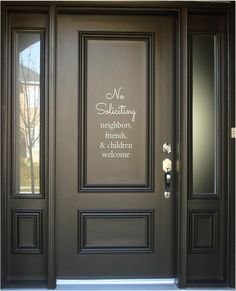 """No Soliciting (neighbors, friends & children welcome) - Vinyl Lettering Word Door or Wall Art Home Decal - 7"""" W x 12"""" H"""