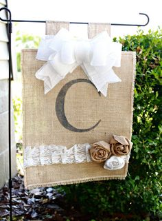 Love this!!!----Personalized Burlap Yard Flag with Lace and Burlap Rosettes on Etsy, $25.00