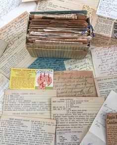 A peek of my recipe collection. Some of these date back to the 1930s  I feel like each little card hold a memory from its past  . . . #recipes #recipeoftheday #recipecards #recipecollection #vintage #retro #vintagerecipes #retrorecipes #collection #collecting #collectingmoments #stories #cooking #baking #kitchen #cookbook #recipebook #recipeideas #history #makingnewmemories #retrobaking #retrocooking #vintagecooking #vintagebaking #chef #fooodie