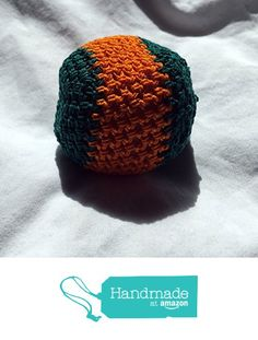 Green with Orange Stripe Hand Crocheted Footbag7x7 Inch from Southern Women…
