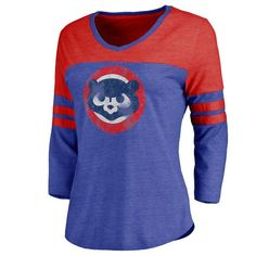 Chicago Cubs Women's Cooperstown Two Tone Three-Quarter Sleeve Tri-Blend T-Shirt - Royal/Red - $37.99