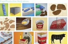 Illustrations explaining the production and packaging of a jellied cured beef delicacy popular in Italy. Media Design, 3d Design, Construction Documents, Technical Illustration, Presentation Design, Digital Media, Ecommerce, Presents, Packaging