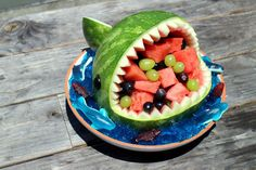 This Amazing Watermelon Shark Is The Ultimate Party Centerpiece | http://homemaderecipes.com/watermelon-shark/