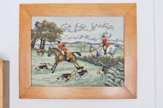 Vintage Framed Needlepoint Equestrian Scene by TheWildPlum on Etsy, $110.00
