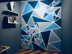 Bedroom Wall Designs, Wall Decor Design, Boys Bedroom Decor, Baby Room Decor, Ceiling Design, Home Wall Painting, Creative Wall Painting, Geometric Wall Paint, Wall Paint Patterns