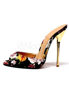 White Mule Sandals High Heel Women's Peep Toe Floral Printed Stiletto Heel Slippers-No.2