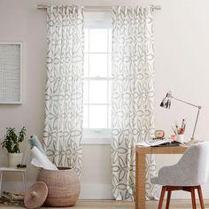 Pinwheel Linen Curtain – Stone White/Slate | west elm